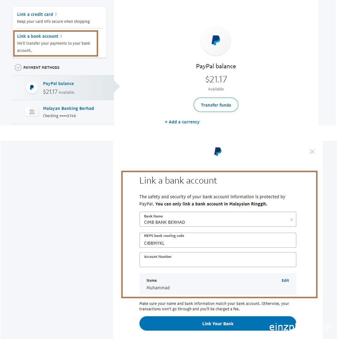 cara link akaun bank paypal malaysia