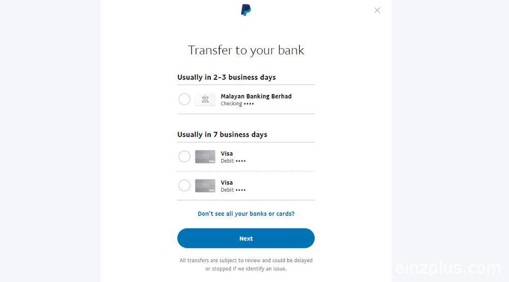 cara transfer paypal ke akaun bank