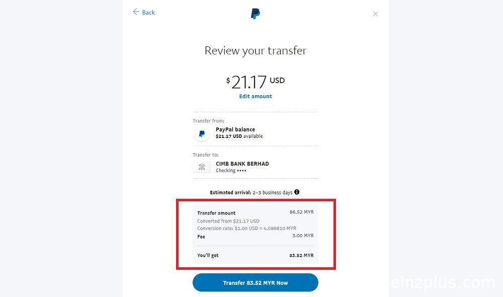 transfer duit paypal ke akaun bank